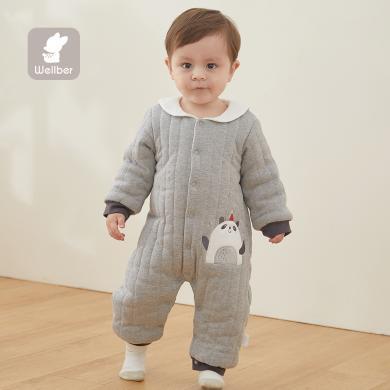 威尔贝鲁新生婴儿儿衣服秋冬套装长袖纯棉男女宝宝棉毛布绗棉翻领前开哈衣连体衣