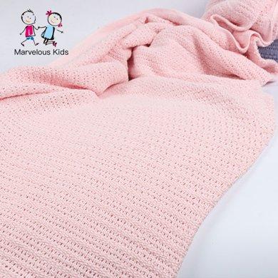 Marvelous kids 洞洞毯纯棉宝宝针织毯空调盖毯?#38041;?#20840;棉推车毯