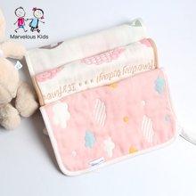 妈唯乐Marvelous Kids 婴幼儿毛巾纯棉喂奶小方巾6层提花3条装