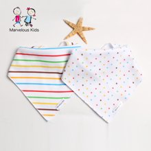 【秒杀价19.9】妈唯乐Marvelous Kids 2条装新生儿口水巾婴儿三角巾/半月可爱围嘴英国风