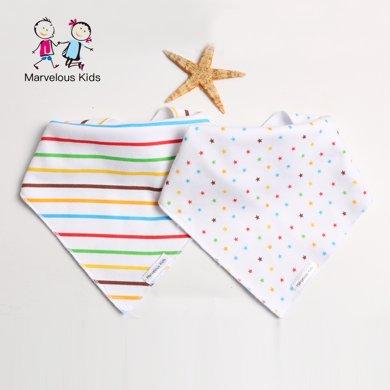 【19兩條裝】媽唯樂Marvelous Kids 2條裝新生兒口水巾嬰兒三角巾/半月可愛圍嘴英國風