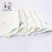 妈唯乐Marvelous Kids 婴幼儿毛巾纯棉喂奶小方巾6层提花3条装 颜色随机