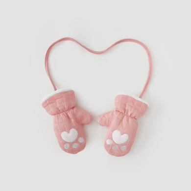 威爾貝魯秋冬男女寶寶空氣層繡花夾絨手套