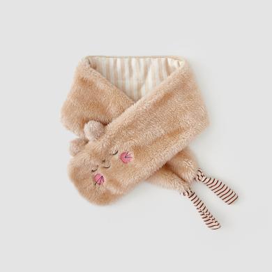 威爾貝魯 秋冬男女寶寶珊瑚絨卡通造型夾棉圍巾