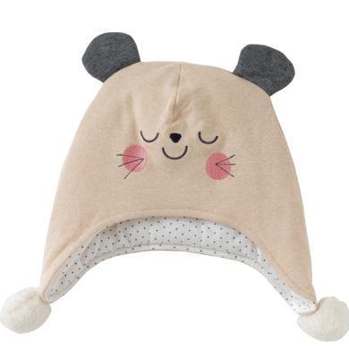 威爾貝魯嬰兒帽子春秋新生兒帽子卡通可愛男女寶寶嬰兒秋季帽子幼兒護耳帽