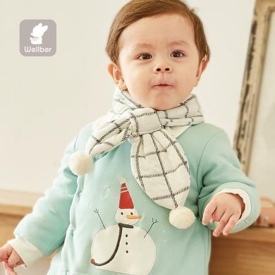 威尔贝鲁 儿童围巾冬婴儿宝宝围脖冬季 保暖秋冬男女童保暖脖套空气层穿袢围巾