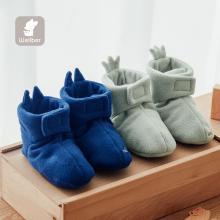 威尔贝鲁 婴儿护脚套春秋摇粒绒卡通鞋新生儿脚包保暖鞋小脚包