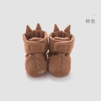 威爾貝魯 嬰兒護腳套春秋搖粒絨卡通鞋新生兒腳包保暖鞋小腳包