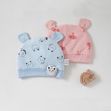 威尔贝鲁婴儿胎帽纯棉新生儿帽子宝宝胎帽夹棉款 婴儿胎帽春秋款0-3-6个月