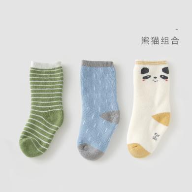 威爾貝魯寶寶毛圈時尚混搭提花襪(3雙)