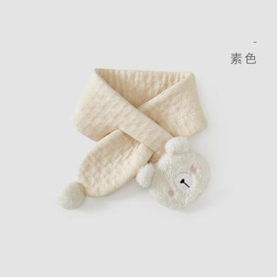 威尔贝鲁 纯棉儿童围巾 秋冬宝宝围巾新生婴儿防风保暖小围巾