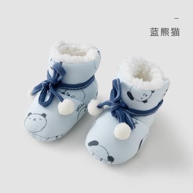 威爾貝魯 秋冬寶寶棉毛布復合海綿側開棉靴