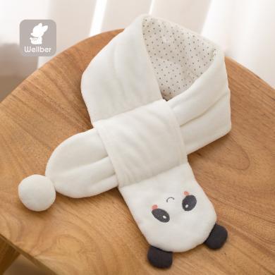 威爾貝魯寶寶秋冬圍巾男女童天鵝絨立體裝飾圍巾