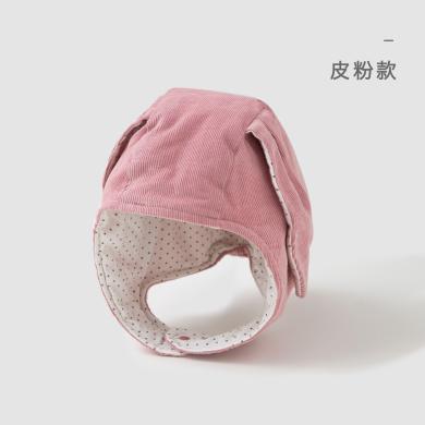 威尔贝鲁 宝宝秋冬?#20449;?#31461;灯芯绒夹棉护耳帽