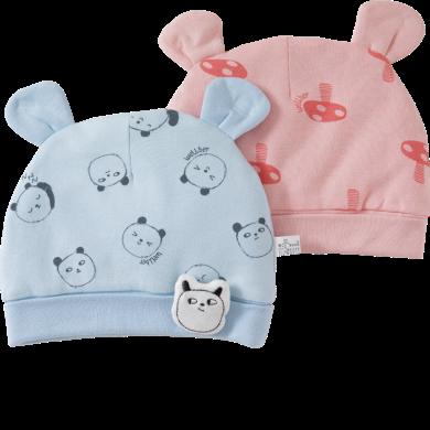 威爾貝魯嬰兒胎帽純棉新生兒帽子寶寶胎帽夾棉款 嬰兒胎帽春秋款0-3-6個月