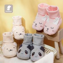 威尔贝鲁 婴儿脚套秋冬棉毛布夹棉造型脚包