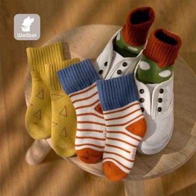 威爾貝魯 毛圈幾何提花襪(3雙)