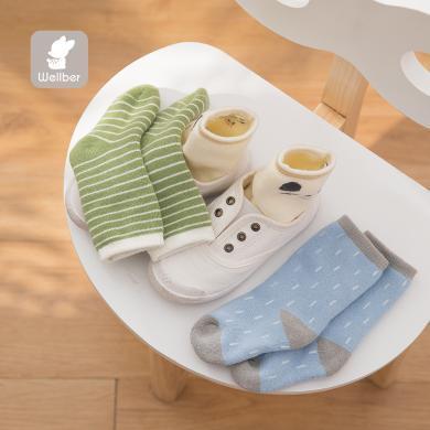 威尔贝鲁宝宝毛圈时尚混搭提花袜(3双)