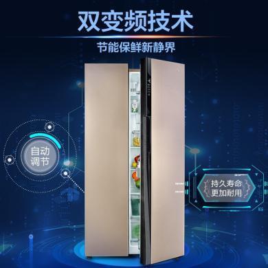美的 (Midea) 冰箱 雙開門冰箱 對開門 雙門無霜冰箱 家用 智能變頻 BCD-525WKPZM(E)芙蓉金