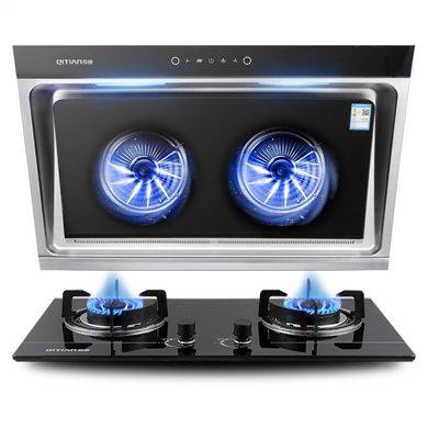 奇田(Qitian) 抽油煙機 燃氣灶 CXW-218-C900S智能+A18-13 煙灶套餐(不含圍板)