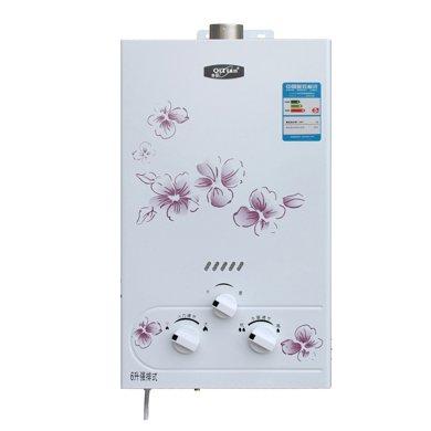奇田(Qitian)JSQ12-B6印花銅水箱 燃氣熱水器 6升強排式天然氣 液化氣熱水器(綠標)