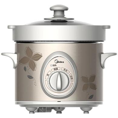 美的(Midea) 2L電燉鍋白瓷煲粥煲湯砂鍋 MD-BGH20A 茶色