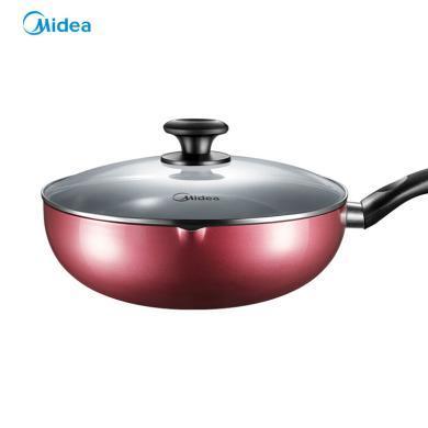 美的(Midea)炒鍋 復合厚底無煙不粘平底煎鍋 燃磁通用 28CM口徑 CL28J1 XW