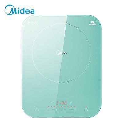 美的(Midea)電磁爐 恒勻火188mm聚能大線圈盤 日本NEG炫彩微晶面板 滑控火力調節 C21-Micca701(晨霧綠)BJ