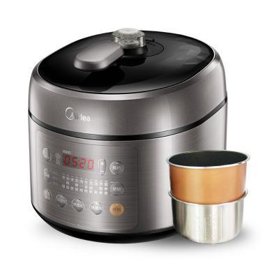 美的(Midea)電壓力鍋 5L 雙膽家用壓力鍋 智能預約多功能高壓鍋 SS5053P 銀色 BJ