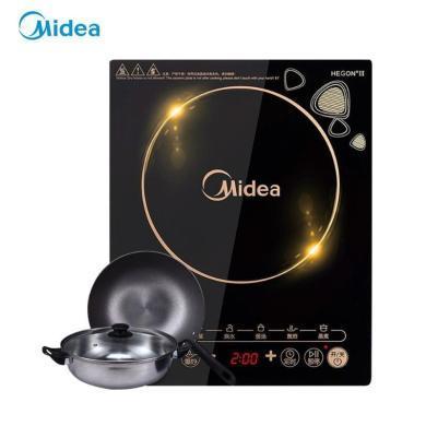 美的(Midea)電磁爐 觸控按鍵 黑晶面板 八檔火力 一鍵爆炒 定時功能 C21-WK2102T (贈湯鍋+炒鍋)