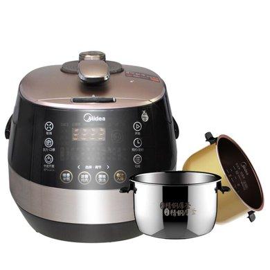美的(Midea) 電壓力鍋PSS5051P 5L雙膽高壓鍋 不銹鋼復合加厚內膽 韓式電腦版壓力鍋