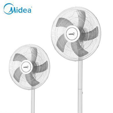 美的(Midea)風扇 落地扇家用臺扇5葉臺式靜音電風扇 定時立式宿舍風扇 FS40-18D 白色TB