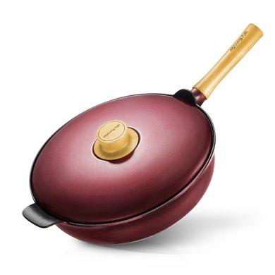 九陽 CLT3257D 炒鍋不粘鍋少煙 平底家用炒菜鍋 燃氣灶適用電磁爐通  紅色(32cm)
