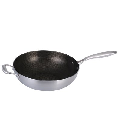 九陽 CGG3208 炒鍋復合鋼不粘鍋炒鍋不銹鍋煤氣炒鍋具家用鍋