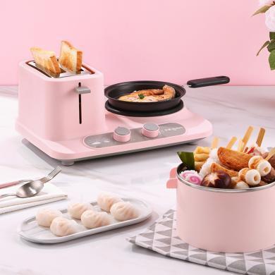 東菱早餐機(Donlim)多功能三合一烤面包機2片多士爐吐司機家用煮蛋器煎蛋新款 DL-3405  粉紅色