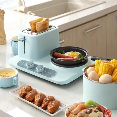 東菱(Donlim)DL-3405 早餐機 多功能三合一烤面包機2片多士爐吐司機家用煮蛋器煎蛋 藍色 新款