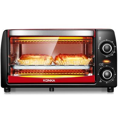 康佳電烤箱KAO-1208 額定容量12L,紅色外觀,額定功率1050W。上下管垂直加熱均勻