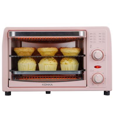 KONKA/康佳13升粉色烤箱T6家用烘焙小型多功能干果机嫩迷你小烤箱全自动