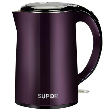 SUPOR/蘇泊爾電熱水壺SWF17C05B 食品級304鋼雙層防燙1.7L燒水壺