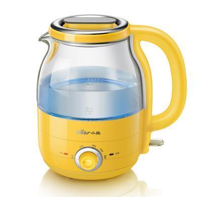 小熊(Bear)電水壺 1.2L迷你燒水壺 沖奶 304不銹鋼 高硼硅玻璃 多段保溫藍光電熱水壺ZDH-A12R2