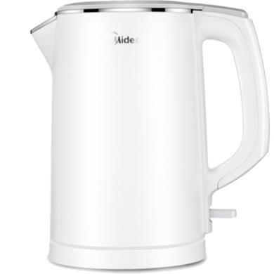 美的(Midea)電水壺 304不銹鋼家用燒水壺1.5L 電熱水壺 HJ1522 雙層防燙一體式無縫