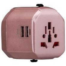 摩米士 MOMAX 多功能电源转换器插头插座带双USB口 出国旅行使用220V/110V美澳英欧标规互转 玫瑰金
