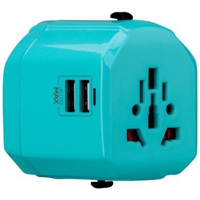 摩米士 MOMAX 多功能電源轉換器插頭插座帶雙USB口 出國旅行使用220V/110V美澳英歐標規互轉 湖水藍