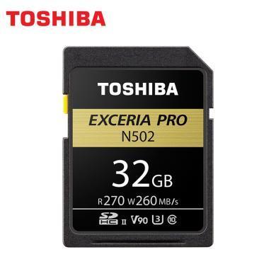 東芝 (TOSHIBA)32GB SD卡 UHS-ⅡU3 C10 V90 8K N502極至超速 讀速270MB/s 寫速260MB/s 專業存儲卡