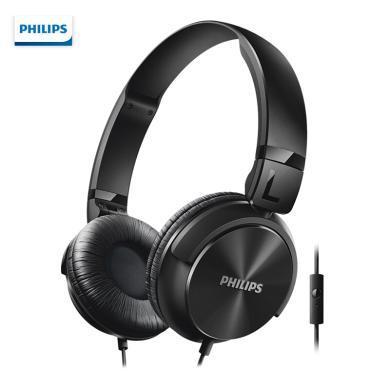 飛利浦(PHILIPS)耳機 頭戴式 高保真音樂耳機 有線 監聽耳機 帶麥克風 清晰通話 SHL3065BK