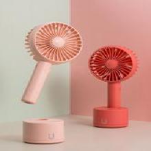佐敦朱迪Jordan&Judy搖頭手持風扇 隨身便攜式可USB充電學生宿舍靜音辦公搖頭風扇紅色