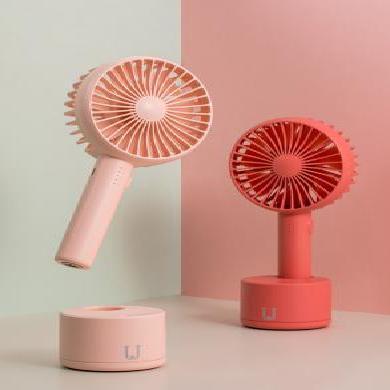 佐敦朱迪Jordan&Judy搖頭手持風扇 隨身便攜式可USB充電學生宿舍靜音辦公搖頭風扇 紅色