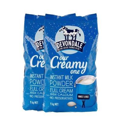 Devondale德運 澳大利亞原裝進口調制乳粉 全脂奶粉1kg*2袋