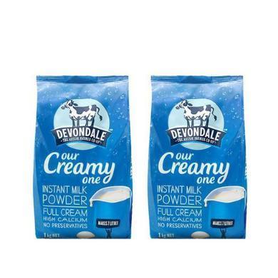 【支持购物卡】【2袋装】 澳洲Devondale德运 全脂 进口高钙成人牛奶粉 1kg*2袋