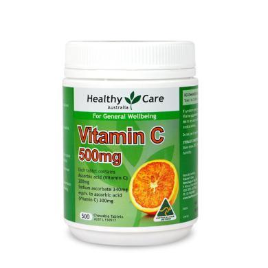 【支持购物卡】澳洲Healthy Care 维生素C咀嚼片500mg  500粒 美容养颜